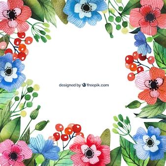 Acquerello bordo floreale