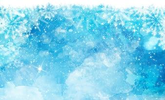 Acquerello sfondo di Natale con i fiocchi di neve stelle e luci bokeh