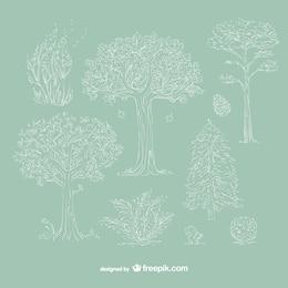 Alberi bianchi disegnati a mano
