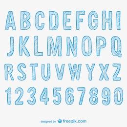 Alfabeto abbozzato e numeri