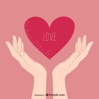 Amore illustrazione con le mani