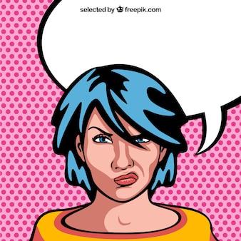 Angry donna fumetto con la bolla in bianco di discorso