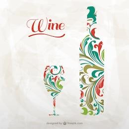 Artistico bottiglia di vino e vetro