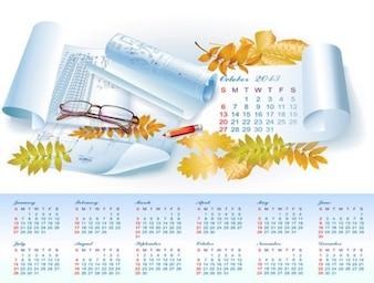Autunno arquitecure 2013 vettore calendario annuale