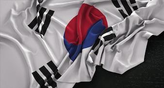 Bandiera della Corea del Sud rugosa su sfondo scuro 3D Rendering