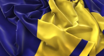 Bandiera di Tokelau Increspato Splendamente Sventolando Macro Close-Up Shot