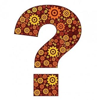 Bel punto interrogativo decorato con forme ingranaggi