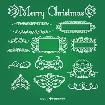 Bianco Natale ornamenti calligrafici