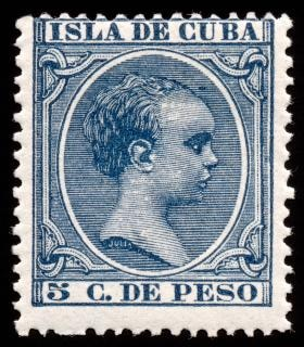Blu re Alfonso XIII timbro magazzino