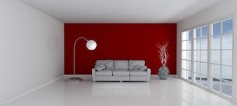 Camera con un muro rosso e un divano