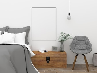 Camera da letto nordica - mockup di arte da parete