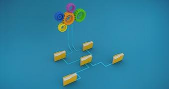 Capelli castani incontro digitale innovare di forniture per ufficio