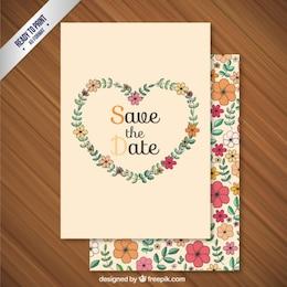 Carta di nozze cuore floreale