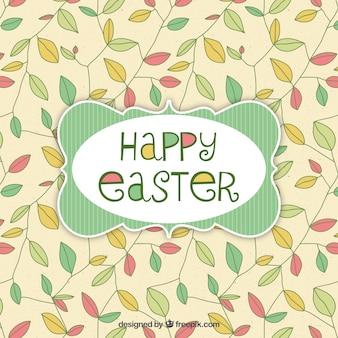 Carta di Pasqua con foglie di fondo