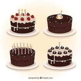 Chocolate torte di compleanno di raccolta