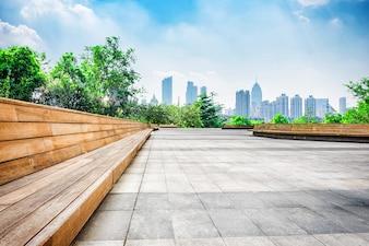 Città tecnologia di costruzione blu business