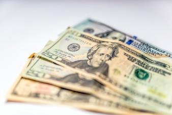 Close up mucchio di dollari, messa a fuoco selettiva. Dollari, il fondo dei soldi.