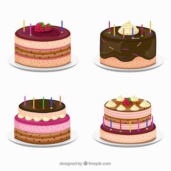 Collezione deliziosa di torte di compleanno