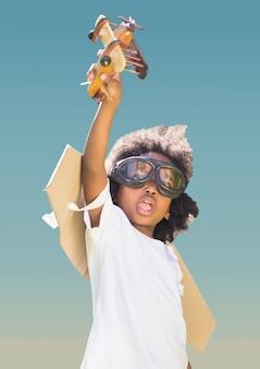 Corridore infanzia headshot focalizzata blu