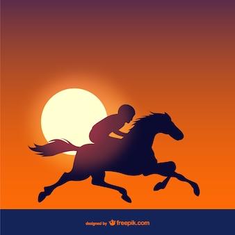 Corse di cavalli al tramonto