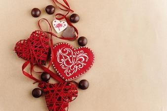Cuori e palline di cioccolato diverso