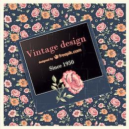 Design vintage con rosa