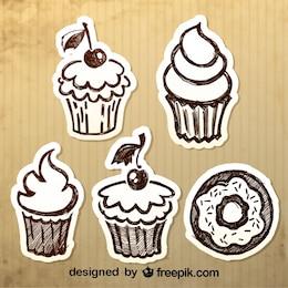 Design vintage dolci disegnati a mano