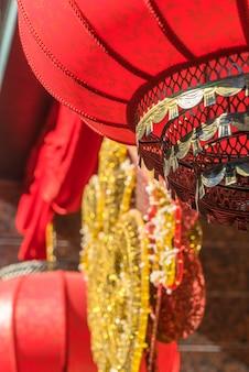 Dettaglio delle lanterne rosse cinesi