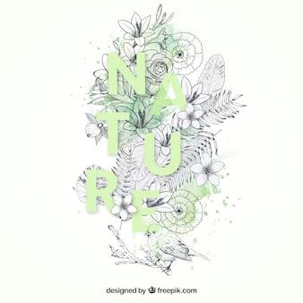 Disegnata a mano sullo sfondo della natura