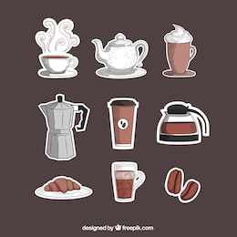 Disegnate a mano coffee shop icons