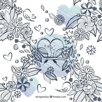 Disegnati a mano fiori e uccelli