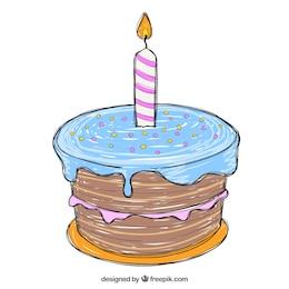 Disegnato torta di compleanno a mano