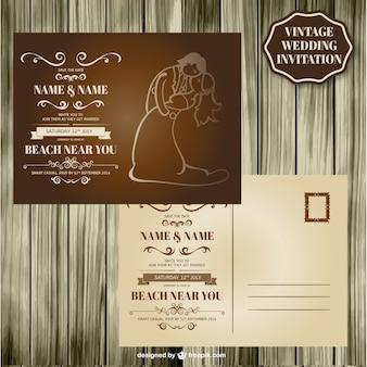 Disegno di legno carta di nozze retrò