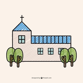 Disegno doodle di una chiesa cristiana