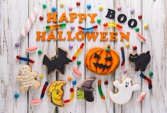 Dolci e superscrizione felice di Halloween