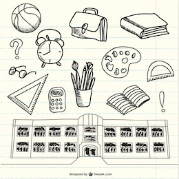 Doodles di forniture scolastiche su notebook