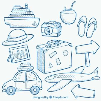 Elementi di viaggio disegnati a mano