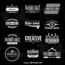 Etichette tipografici set