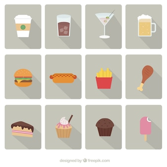 Fast food icone vector set