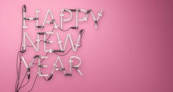 Felice anno nuovo neon luce rosa 3D