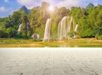 Flusso vacanza foglia giungla sfondo cascata