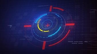 Hi-Tech Futuristic HUD Elementi del Cerchio di Visualizzazione