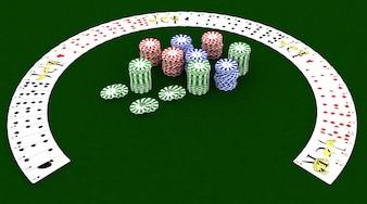 Il rendering 3D di Fiches e carte da gioco