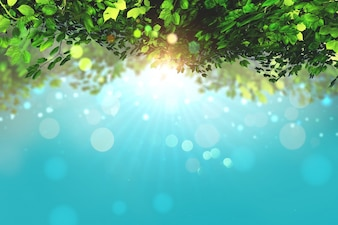 Il rendering 3D di foglie su uno sfondo blu cielo con luci bokeh