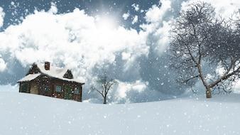 Il rendering 3D di un paesaggio innevato con la casa e gli alberi
