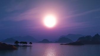 Il rendering 3D di un paesaggio tropicale di notte