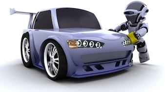 Il rendering 3D di un robot che lava un'automobile