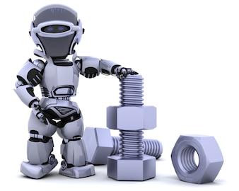 Il rendering 3D di un robot con dadi e bulloni