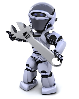 Il rendering 3D di un robot e chiave inglese