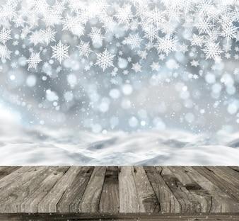Il rendering 3D di un tavolo di legno su uno sfondo di Natale con la neve e le luci bokeh